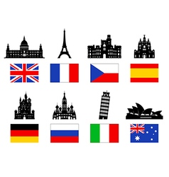 Europe travel landmarks icon set vector