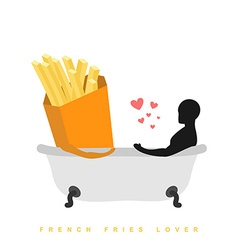 Lover french fries I love food Fastfood and man in vector image
