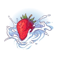 Delicious fresh strawberry falling into cream or vector