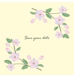 Card with sakura branch vector