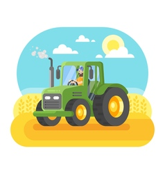 Flat style of farmer working in farmed land vector