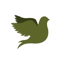 Green silhouette fly bird icon flat vector