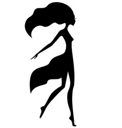 Graceful girl with waving hair vector