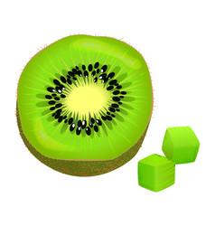 Sliced on half and diced kiwi vector