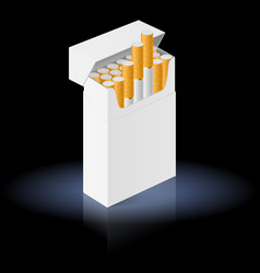 White pack of cigarettes isolated on black vector