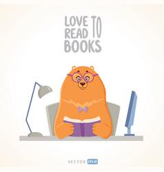 bear reads vector image