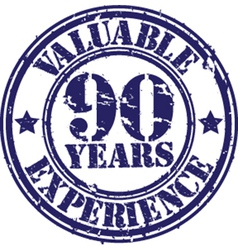 Valuable 90 years of experience rubber stamp vect vector