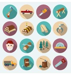 Lumberjack Woodcutter Icons vector image