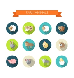 Set of flat design icons with farm animals vector