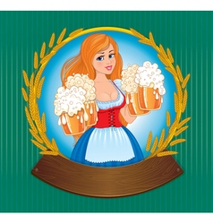 Woman with beer board vector