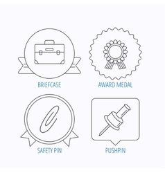 Award medal pushpin and briefcase icons vector image