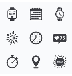 Smart watch mechanical clock time and timer vector