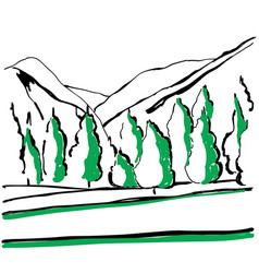 A path in the mountains sketch background with vector