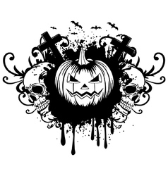 Abstract background pumpkin and two skulls vector