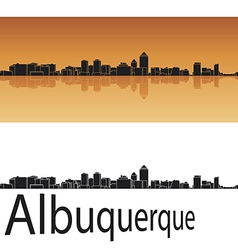 Albuquerque skyline in orange background vector