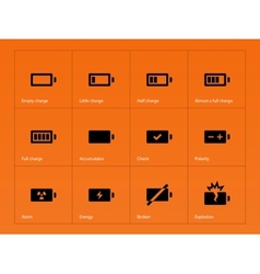 Battery icons on orange background vector image