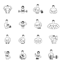 Bodybuilding fitness gym icons black vector image vector image