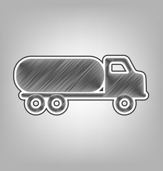 Car transports sign pencil sketch vector