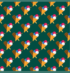 Chocolate vanilla ice cream cone seamless pattern vector