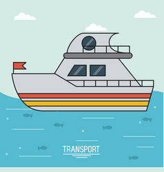 Colorful poster of transport with boat over water vector