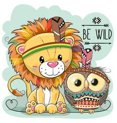 Cute cartoon tribal lion and owl vector