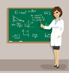 Female math teacher standing next to blackboard vector