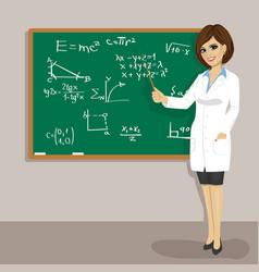 female math teacher standing next to blackboard vector image vector image