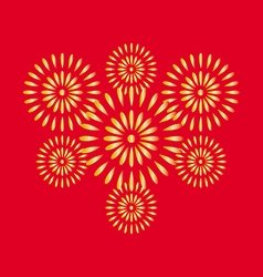 Fireworks gold on red background vector