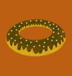 Flat shading style icon donut vector