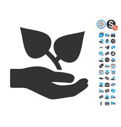 Flora care hand icon with free bonus vector