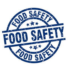 Food safety blue round grunge stamp vector