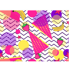 fruity seamless pattern with memphis elements and vector image