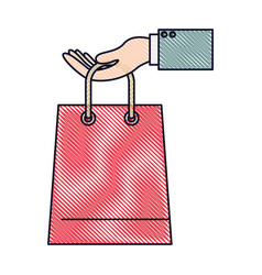 Hand holding a trapezoid shopping bag in colored vector