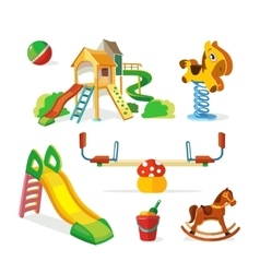 icon set of children playground vector image