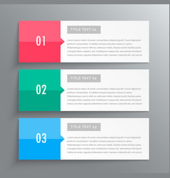Infographic banners showing three steps for your vector
