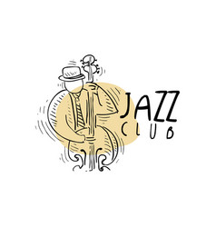 Jazz club logo vintage music label with vector