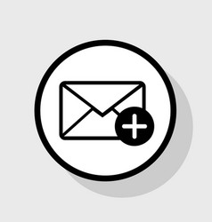 Mail sign with add mark flat vector