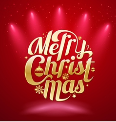 Merry Christmas gold lettering text vector image
