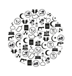 Ramadan islam holiday icons set in circle eps10 vector