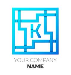 Realistic letter k logo in colorful square maze vector