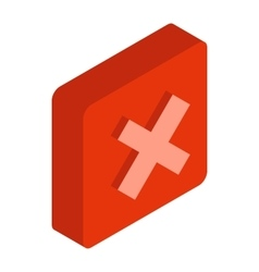 Red square element icon isometric 3d style vector