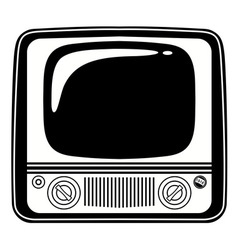 Retro black and white vintage tv on white vector