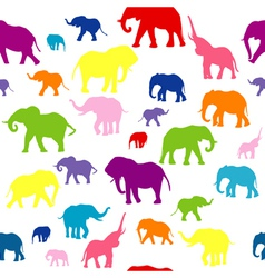 Seamless elephants silhouettes background vector image