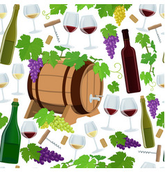 seamless pattern of wine icons vector image