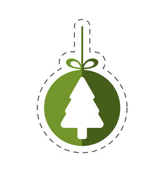 tree pine christmas hang line vector image