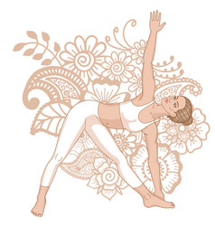women silhouette extended triangle yoga pose vector image