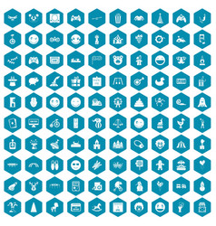 100 funny icons sapphirine violet vector image vector image