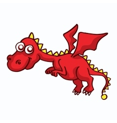 Red dragon funny cartoon design for kids vector