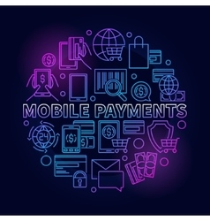 Mobile payments circular blue sign vector