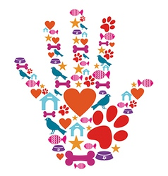 Pet animal protective hand icon set vector image